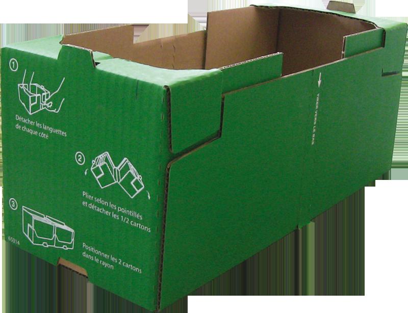 Caisse carton avec trottoirs pour la mise en rayon