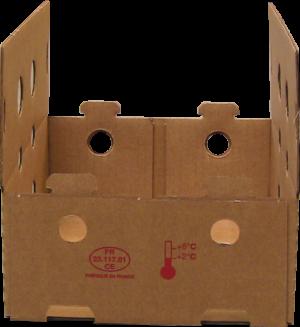 Caisse carton coins collés formée avec formeuse barquetteuse MIBOX