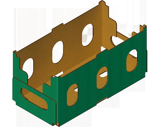Boîte carton a 4 coins collés réalisée avec Barquetteuse MIBOX