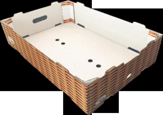 Caisse carton avec poutres dièdres obtenue sur Formeuse MIBOX D20
